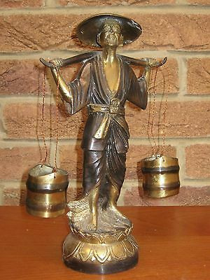 Chinese Bronze Statue Of A Man Carrying Buckets