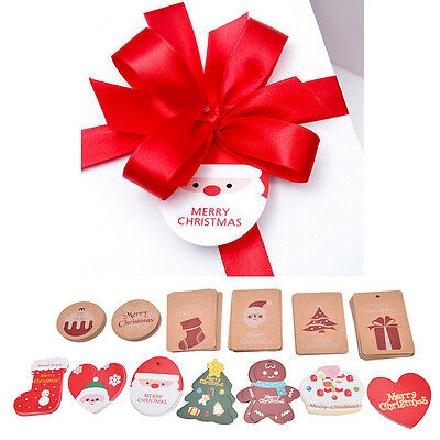 10PCs Christmas DIY Craft Brown Gift Paper Label Price Hang Tags Cards WeddingHP