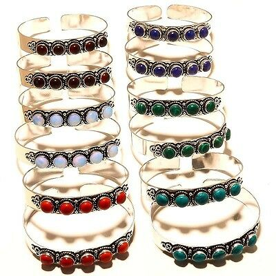 Wholsale Lot 12 Pcs 925 Silver Plated Opal,malachite & Multi Stone Bangle / Cuff