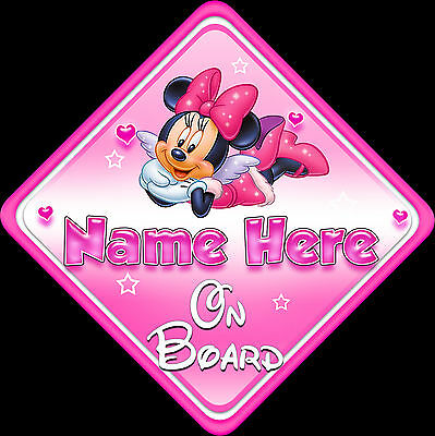 Personalised Baby On Board Car Sign ~ Window, Safety.Minnie Mouse New Pink