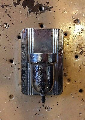 Art Deco silver metal single wall sconce with built in outlet