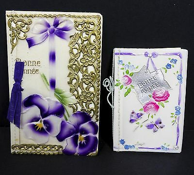 Antique Embossed New Year French Greetings Cards Celluloid Pansies made Germany
