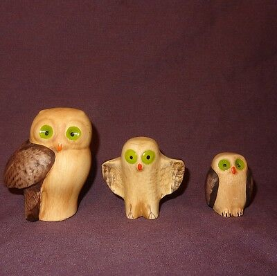 "Vintage Set (3) Owls Brown Green Eyes 3"" Ceramic Portugal"