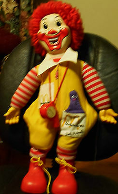Vintage 70 s Ronald McDonald plush doll with whistle 21""