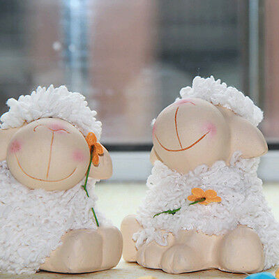 Set of 2 Farm Animal Ceramic Sheep Lamb Pottery Figures Ornament gifts handmade