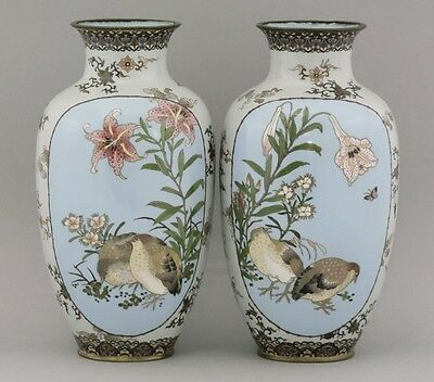 Attributed To Namikawa Sosuke,A museum quality pair of Cloisonné Vases.Meiji era