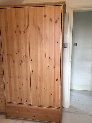 Hurdal Solid Pine Wardrobe - almost brand new