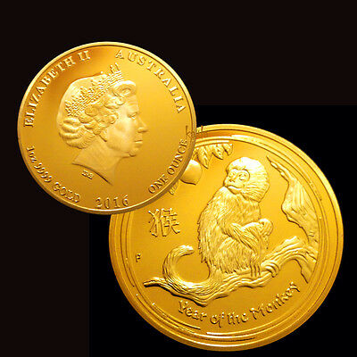 2016 Year Of The Monkey 1oz Commemorative Gold Plated Coin
