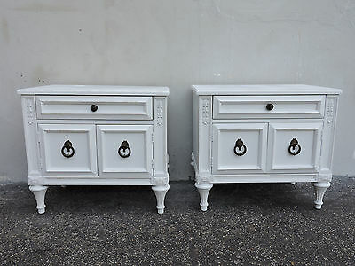 Pair of French Distressed Painted Nightstands / End Tables 6183