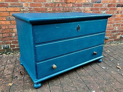 Large Antique Painted Pine Mule Chest Blanket Box