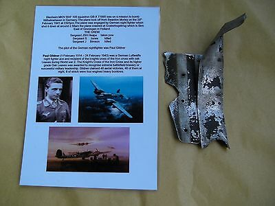 WW2 relic Painted section of airframe Blenhiem T1895  shot down 28/2/41 Holland