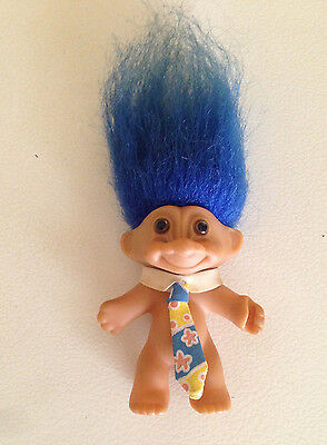 Russ Vintage Troll Doll Business Collar and Tie Blue hair