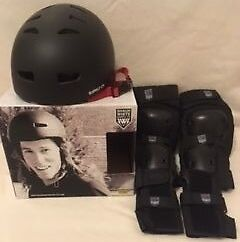 Shaun White SkateBoard Combo Pack. Helmet & Pads. Size S/M. Black. IMMACULATE.