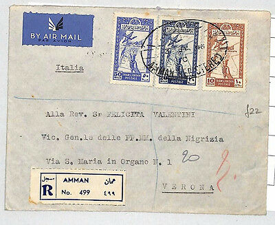 J19 1946 TRANSJORDAN *Amman* Registered Air Mail Italy Via Greece Superb Cover