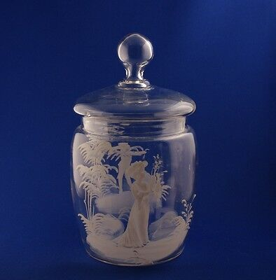 Victorian Mary Gregory Glass Crystal Biscuit Barrel Girl & Boy Figurals c.1890