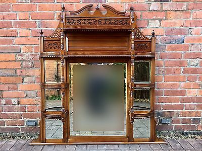 Antique Victorian Mahogany Shelved Fretwork Over Mantle Mirror