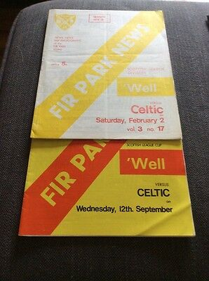 2 Motherwell v Celtic 1973/74 Programmes League and League Cup