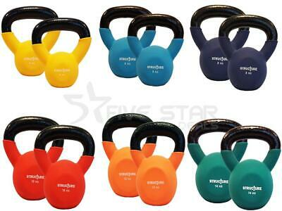 Set Of 2 Cast Iron Neoprene Kettlebells Weight Strength Training Exercise Gym