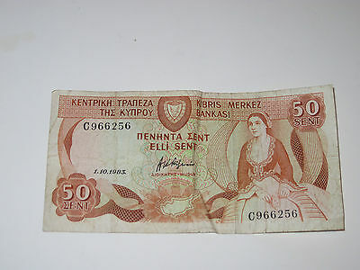 1 - 50 cent  Note  from Cyprus