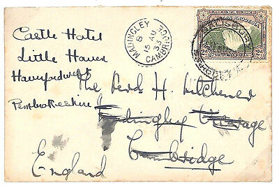 U20 1933 RHODESIA Surface Mail Forwarded *Madingley Cambridge* CDS GB Cambs Env