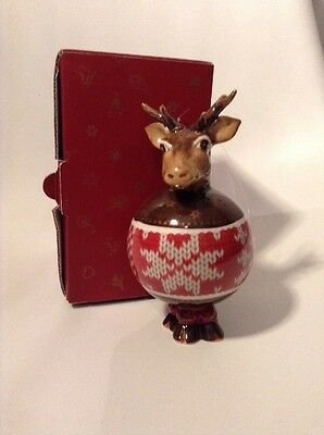 Rare Villeroy & Boch Christmas Porcelain Reindeer Tree Decoration, With Box