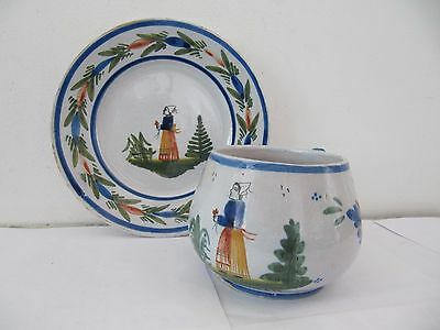 HB Quimper French Pottery Cup & Saucer