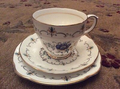 Duchess Blue Floral Vintage China Trio Cup Saucer Plate