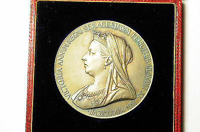 Queen Victoria Diamond Jubilee 56mm Silver Medallion Medal Coin In Original Box