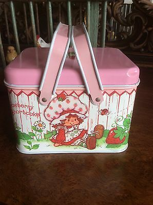 Strawberry Shortcake Metal Lunch Box Storage Box with Handles 1980'S