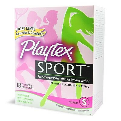54 New 3 Boxes of 18 Plastic Tampons Playtex Sport - Super Absorbency Unscented