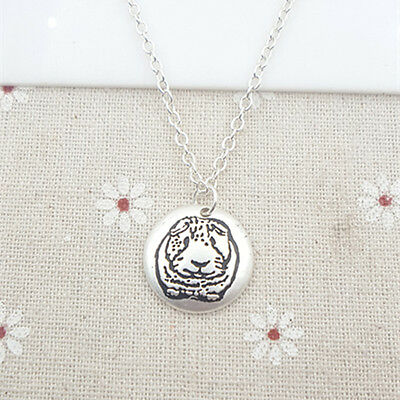 Guinea Pig Necklace Silver Cute Imprint Disc NEW  ANIMAL RESCUE DONATION