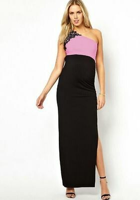Maternity Evening Cocktail party Dress Xmas Party Black & pink NEW SIZE 14
