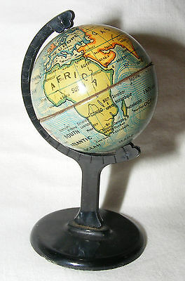 Vintage Chad Valley Miniature Desk Globe Tin Plate Plastic Lovely 8.5 Cms High