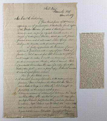 Antique Letter, Genealogy Research, Henry Reed Stiles to Edward E Salisbury 1889