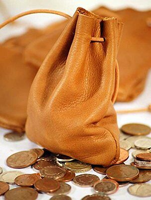 Medieval-Larp-SCA-Pagan-Reenactment TAN LEATHER MEDIEVAL MONEY POUCH-DRAWSTRING