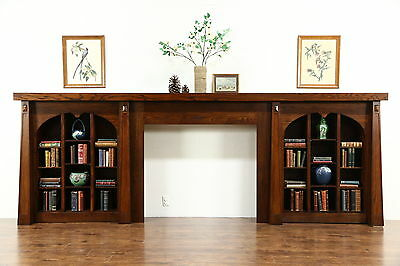 Arts & Crafts Antique Fireplace Mantel & Bookshelves, Architectural Salvage Wall