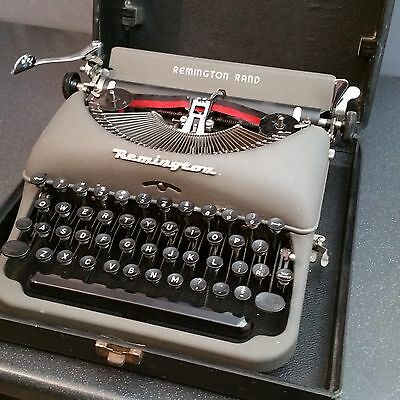 Remington Rand Portable Typewriter + case + manual. Possibly Model 5 1940's