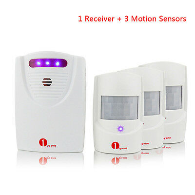 Patrol Wireless Driveway Alarm Alert System With 3 Motion Sensor Detectors 100M