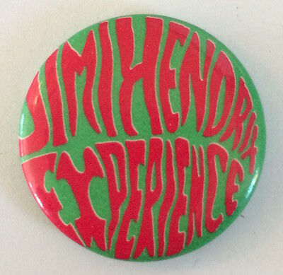 JIMI HENDRIX Experience pin Vintage 1980s pinback button badge green red version