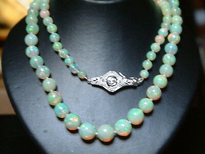 18CT  GOLD OPAL BEAD NECKLACE with  DIAMOND  clasp catch