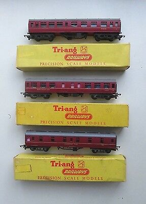 3 Triang Br Maroon Main Line Composite, Restaurant, Sleeping Cars Coaches