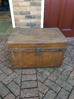 Antique/Vintage Industrial Metal Box/Chest/Trunk/Home Storage/Coffee Table