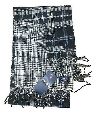 Chaps Men's Black & Heather Grey Blue Plaid Knit Fringe Scarf NEW $38