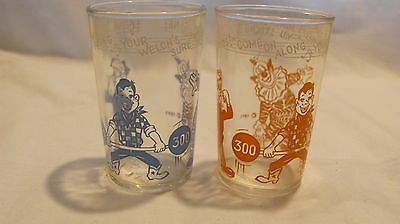 2 Howdy Doody character collectible drinking glass tumblers 1953 Welch's