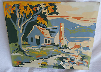 Finished Paint by Number Painting Cottage House Tree Blue Cream Orange