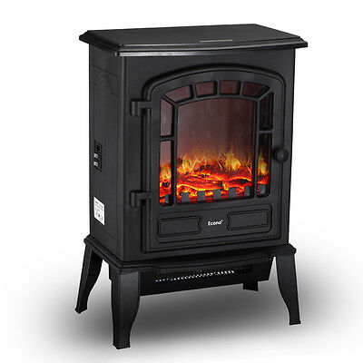 Econo® Black 2000W Log Burning Effect Electric Fire Stove Heater Fireplace