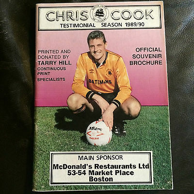 Boston United 1989-90 Chris Cook Official Testimonial Brochure