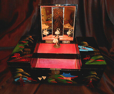"VTG JAPANESE LACQUER JEWELRY MUSIC BOX w BALLROOM DANCERS - ""FLOWER DRUM SONG"""