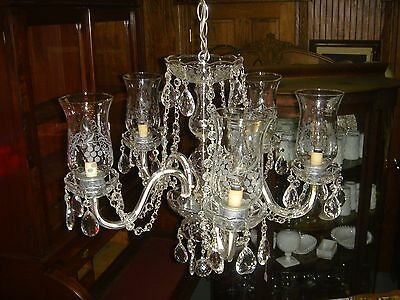 "Vintage Mid Century Crystal Chandelier (5) Arm ""FREE"" Shiping"