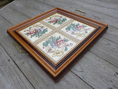 Antique wooden tray with beautiful flowers tiles brass handles coffee shop home